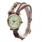 Retro Punk Style PU Leather Band Zinc Alloy Dial Quartz Analogue Wrist Watch - Coffee (1 X AG4)