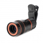 LIEQI Universal 8X Telephoto Lens w/ Clip for Cellphone - Red + Black