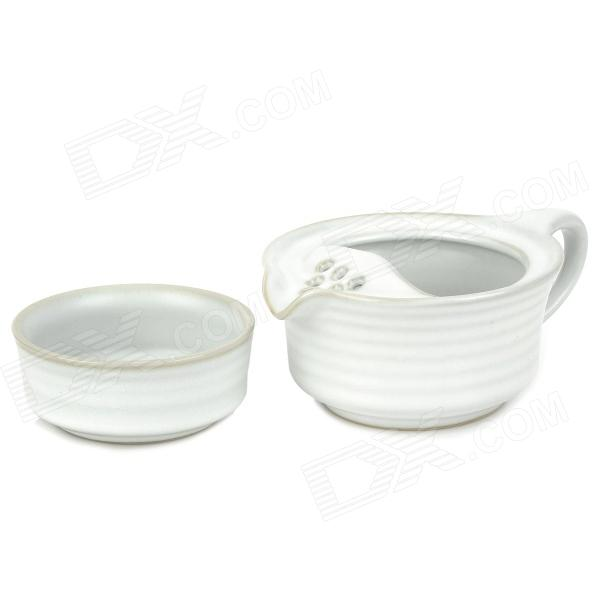 Travel Chinese Characteristics Ru Kiln Tea Cup + Pot Set - Bluish White