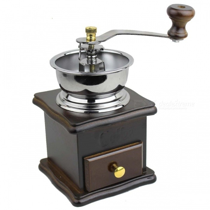 Retro Acero Inoxidable + Wood Coffee Grinder - + Madera Plata