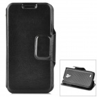 Classic Flip-open PU Leather Case w/ Holder for Samsung S4 Mini - Black