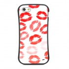 Newtop Stylish Red Lip Print Pattern Protective Plastic Back Case for iPhone 5 - Black + White + Red