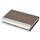 AE009 30-in-1 PU + Stainless Steel Business Cards Case - Coffee + Silver