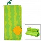 Fashion Watermelon Style Flip Open PU Leather Case for Iphone 5 - Green + Yellow
