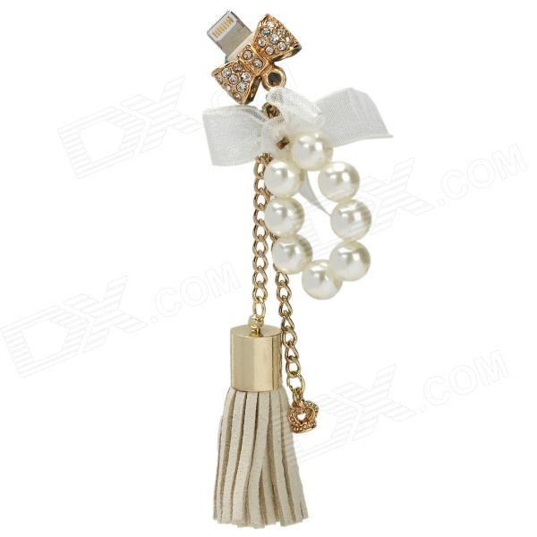 Pearl Bow Style Decorative Anti-Dust Pendant for iPhone 5 - White + Golden + Silver (Power Jack)