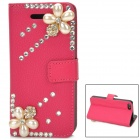 Pearl & Rhinestone Flower Pattern PU Leather Stand Case for iPhone 5 - Deep Pink + Black + Beige