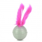 Pet Feather Tail Plastic Ball w/ Catnip Cat Chasing Toy - Grayish Green + Deep Pink