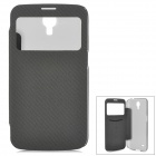 Protective Plastic + PU Case w/ Auto Sleep for Samsung Galaxy Mega i9200 - Black + Translucent Black