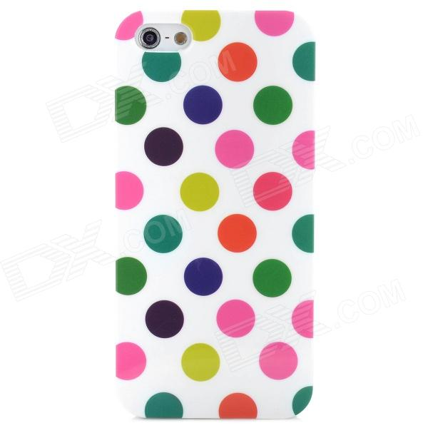 Protective Colorful Polka Dot Pattern Silicone Back Case for  Iphone 5 - White protective silicone case for nds lite translucent white