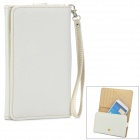 Mulfunction Protective PU Case / Wallet w/ Card Slots + Strap for Samsung  i9200 + More - White