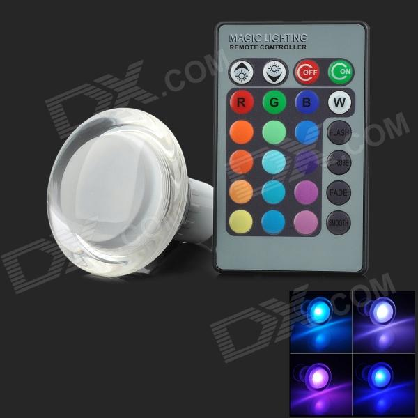 Y30S GU10 3W 10lm LED RGB Light w/ 24-Key Remote Control - Silver