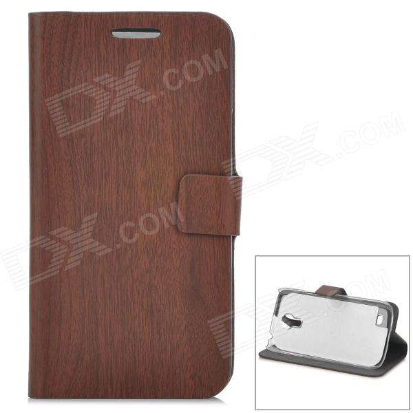 Bamboo Pattern Protective PU Flip-open Case w/ Stand for Samsung S4 Mini - Deep Brown bamboo pattern protective pu flip open case w stand for samsung s4 mini deep brown