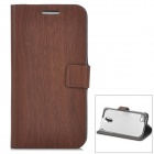 Bamboo Pattern Protective PU Flip-open Case w/ Stand for Samsung S4 Mini - Deep Brown