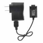 USB Charger + 100~240V 2-Flat-Pin Plug Power Adapter for Electronic Cigarette - Black
