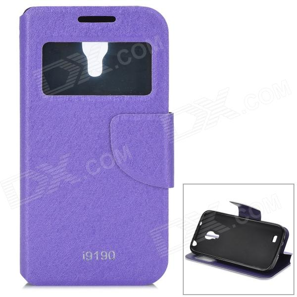 Stylish Flip-open PU + TPU Case w/ CID Window & Holder for Samsung S4 Mini i9190 - Purple stylish flip open pu leather case w holder card slot for samsung s4 mini i9190 red