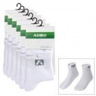 ADIBO HA 05 Fashion Sports Cotton Socks for Men - White (6 Pairs)