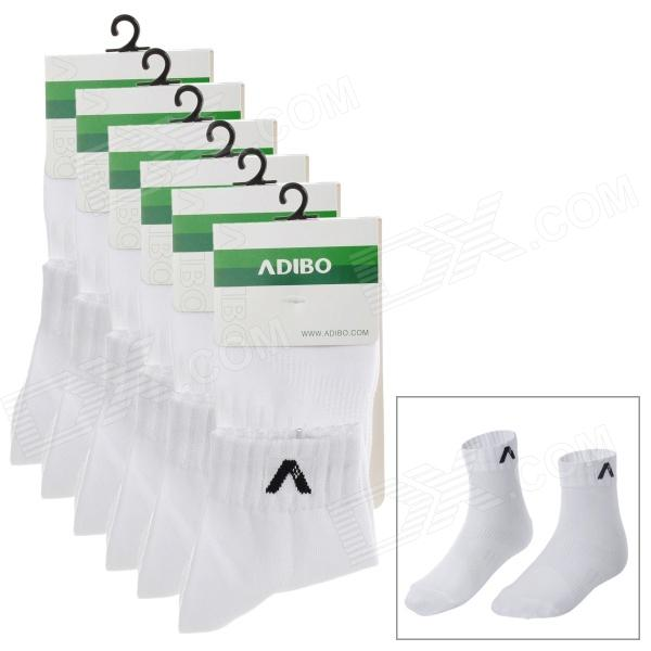 ADIBO A-13 Sports Cotton Socks for Men - White (6 Pairs)