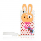 Cute Cartoon Rabbit Style Silicone Back Case w/ Strap for Iphone 5 - White