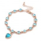 Madou Princess S061 Fashionable Shiny Crystal Adornment Heat Pendant Charm Bracelet - Blue