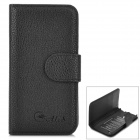 Alis Protective PU Flip-open Case w/ Card Slots for Samsung S4 Mini - Black