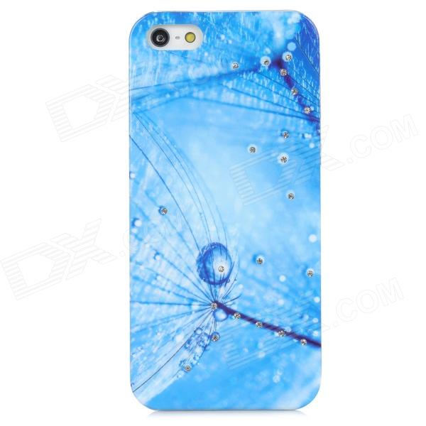 Dandelion Style Protective Rhinestone + Plastic Back Case for Iphone 5 - Blue cute girl pattern protective rhinestone decoration back case for iphone 5 light pink light blue