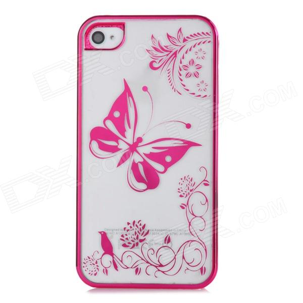 Butterfly Style Protective Plastic Back Case for Iphone 4 / 4S - Deep Pink + Transparent White stylish bubble pattern protective silicone abs back case front frame case for iphone 4 4s