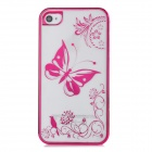 Butterfly Style Protective Plastic Back Case for Iphone 4 / 4S - Deep Pink + Transparent White