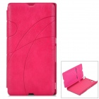 Protective PU + Plastic Case for Sony LT36 w/ Card Slot - Deep Pink