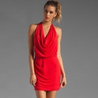LC2795 Fashionable Sexy Red Cowl Neck Mini Dress for Women - Red (Free Size)