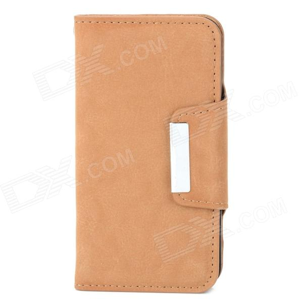 Protective PU Leather Flip-Open Case for Iphone 4 / 4S - Brown protective pu leather flip open case for iphone 4 4s black