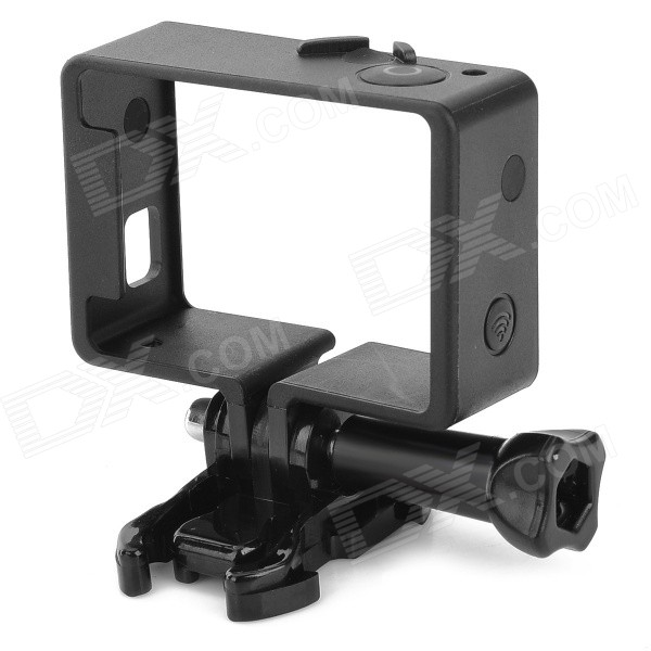 Lightweight Portable Plastic Standard Frame Mount w/ Quick Assemble Plug for Gopro Hero 4/3Bags &amp; Cases<br>ModelF-SQuantity1 DX.PCM.Model.AttributeModel.UnitForm  ColorBlackMaterialPlasticCompatible ModelsGoPro Hero 3,GoPro Hero 4RetractableNoMax.LoadN/A DX.PCM.Model.AttributeModel.UnitOther FeaturesFacilitate connecting camera to holder; portable and convenient to use. Inner Dimension: 6 x 4 x 2.2cmShade Of ColorBlackPacking List1 x Frame<br>