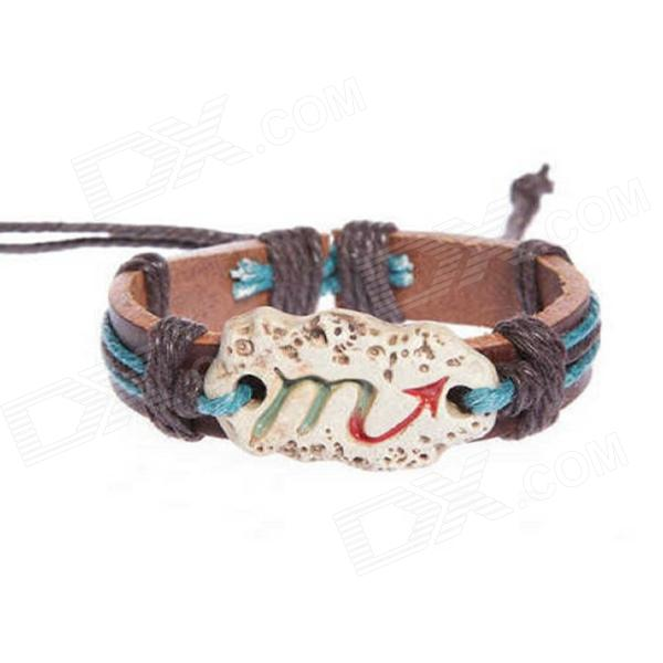 eQute BLEC3S7 Unisex Genuine Leather Constellation Bracelet Braided Adjustable Cord (Scorpio) fashion cupid ornament split leather bracelet coffee brown multi color