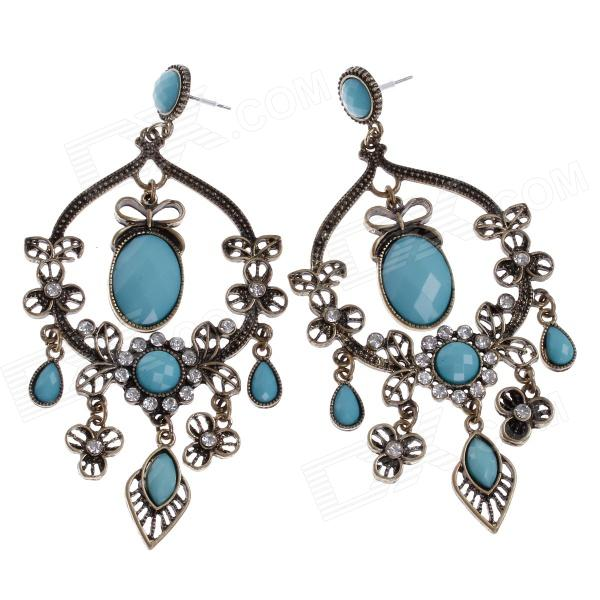 Retro Elegant Women's Earrings w/ Shiny Rhinestone Decorated - Bronze + Light Blue (Pair) ladies shiny rhinestone pendant earrings