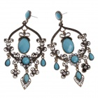 Retro Elegant Women's Earrings w/ Shiny Rhinestone Decorated - Bronze + Light Blue (Pair)