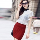 LC71029-6 Fashionable Thick Fold Tight-Fitting Skirt for Women - Wine Red (Free Size)