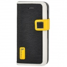 Hello Deere Protective PU Leather Case w/ Stand for Iphone 5 - Black + White + Yellow