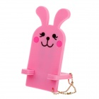 Detachable Rabbit Style Portable Holder Stand for Mobile Phone - Pink + Black