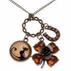 Retro Cute Kitten and Flower Style Necklace / Sweater Chain - Bronze + Brown