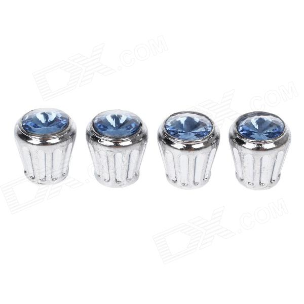 Shining Rhinestone Replacement Stainless steel Car Tire Valve Caps - Silver + Blue (4 PCS) diy stainless steel motor universal coupling silver 4 x 4mm