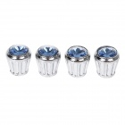 Shining Rhinestone Replacement Stainless steel Car Tire Valve Caps - Silver + Blue (4 PCS)