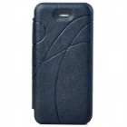 Stylish Flip-open Plastic Back Case w/ PU Leather Cover for Iphone 5 - Navy Blue