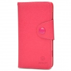 Protective PU Leather Case w/ Card Holder Slots for Sony S36h - Deep Pink