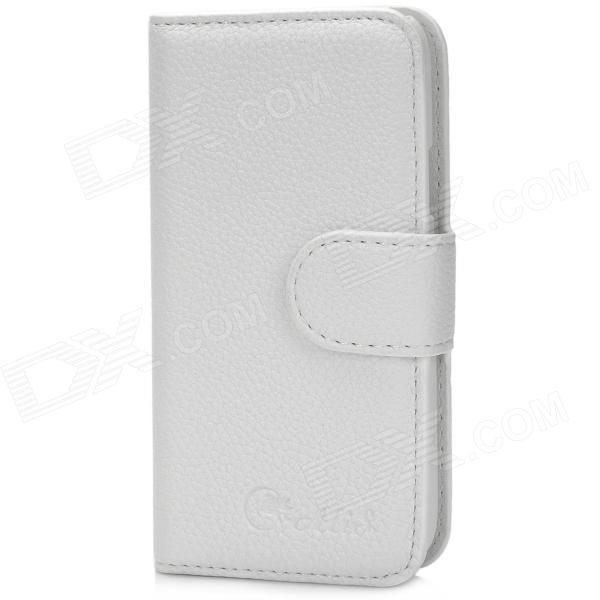 Alis Protective PU Leather Case w/ Card Holder Slots for Samsung Galaxy S4 Mini - White аксессуар чехол activ for samsung galaxy sm a700 a7 hicase силиконовый white 46470