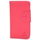 Stylish Protective PU Leather Case w/ Card Holder Slots for Sony ST26i - Deep Pink