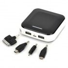 DS-9000 External 9000mAh Power Battery Charger w/ Dual USB for Cell Phone / MP3 - Black + White