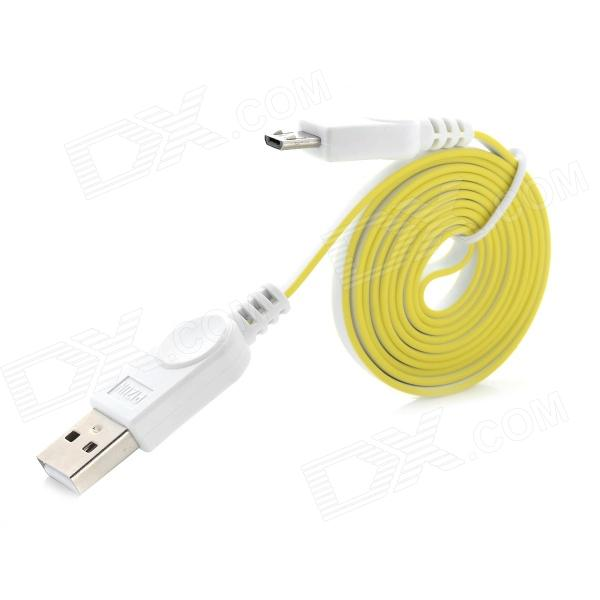 USB Male to Micro USB Male Charging Data Sync Flat Cable for Samsung Galaxy S3 / S4 - White + Yellow 103b universal usb to micro usb data charging cable for samsung htc more deep pink 100cm