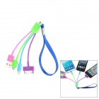 Compact 3-in-1 USB Male to Micro USB + Apple 30 Pin + Lightning Male Cable w/ Strap - Multicolored