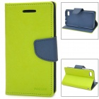 Stylish Protective PU Leather Case w/ Card Holder Slots for BlackBerry Z10 - Green + Dark Blue