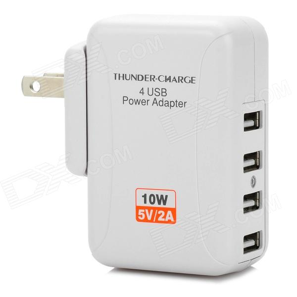 10W 5V 2A 4-USB-poorten US Plug PVC Oplaadvermogen adapter voor Iphone-Ipad + More Wit