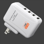 10W 5V 2A 4-USB Ports US Plug PVC Power Charging Adapter for Iphone / Ipad + More - White